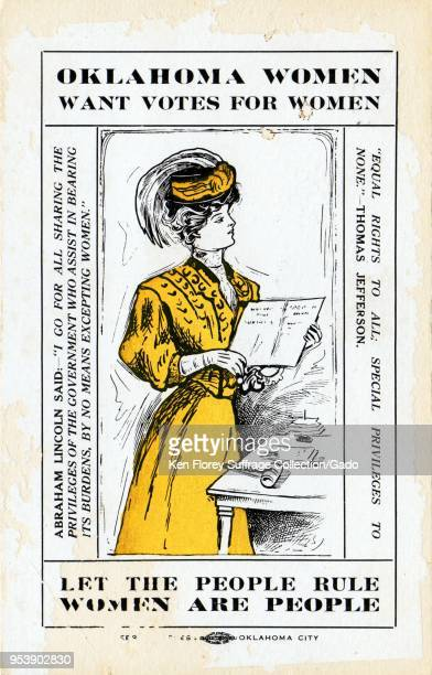 Color card depicting a woman wearing yellow and holding a ballot captioned 'Oklahoma women want votes for women ' and 'Let the people rule women are...