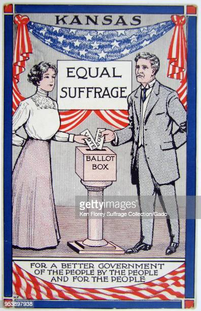 Color card depicting both a man and a woman standing on either side of a ballot with the words 'Kansas' and 'Equal Suffrage' in the background about...