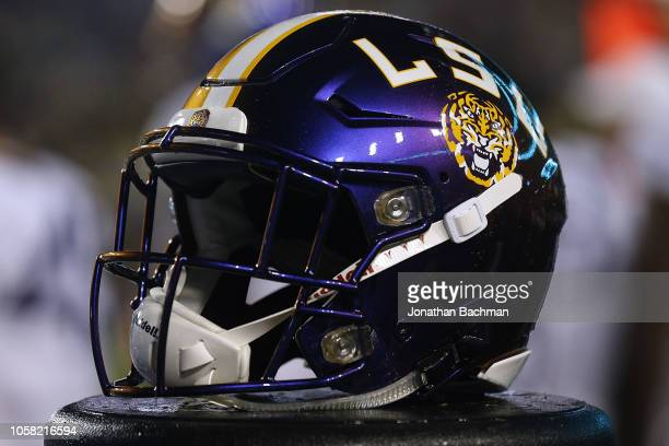A color changing LSU Tigers helmet honoring LSUÕs 1918 team that didnÕt play football that season and instead went to fight in World War I is seen...
