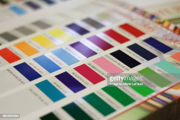 color chart with labels - candy samples stock pictures, royalty-free photos & images