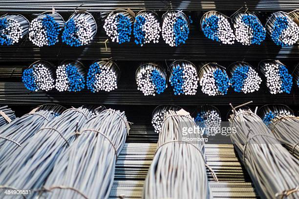 Color coded bundles of finished steel rebars sit in storage ahead of shipping at the Rustavi Metallurgical Plant, operated by Rustavi Steel LLC, in...