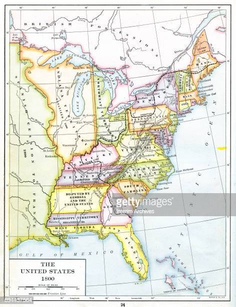 Color coded map of the United States of America including Northwest territory Indiana territory Mississippi territory Spanish possessions ceded to...