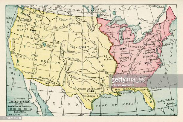 Color coded map showing the progressive acquisition of territory of the United States, starting from the states at the close of the American...