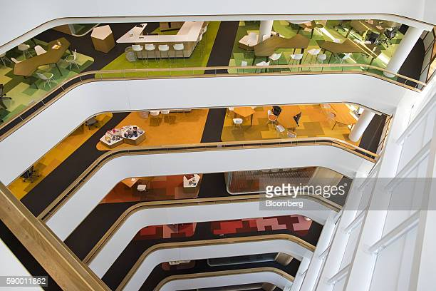 Color coded office floors sit at the headquarters of Akzo Nobel NV in the Zuidas business district of Amsterdam Netherlands on Monday Aug 15 2016 The...