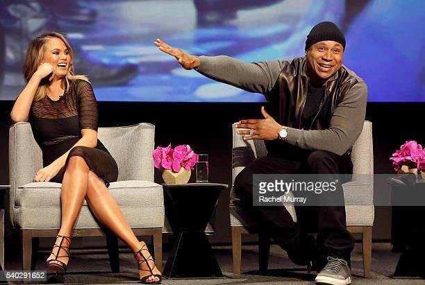 Color Commentator Chrissy Teigen and Host LL Cool J speak onstage during the FYC Event Spike's 'Lip Sync Battle' at Saban Media Center on June 14...
