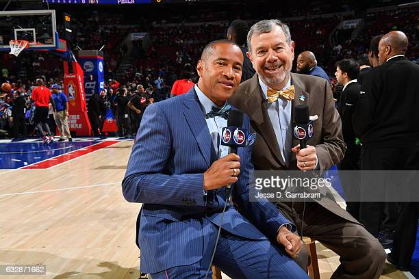 Color commentator P J Carlesimo smiles for the camera prior to the Philadelphia 76ers against the Houston Rockets at Wells Fargo Center on January 27...