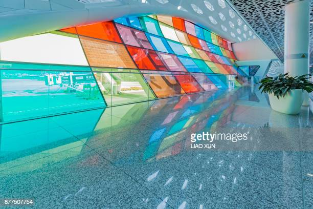 Color curtain wall at Shenzen airport terminal