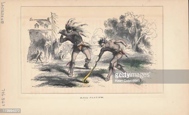 Color engraving depicting Native American men 'playing ball' an early incarnation of the modern game of lacrosse USA circa 18701900