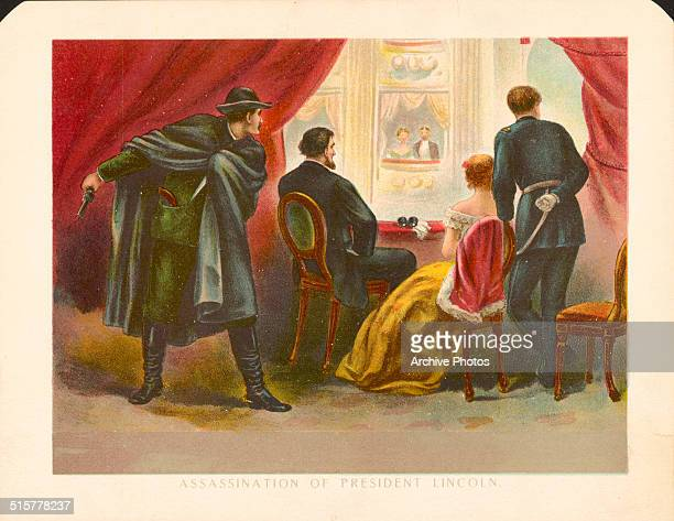 Color engraving depicting the moments before the assassination of President Abraham Lincoln at Ford's Theatre Washington D C April 14th 1865