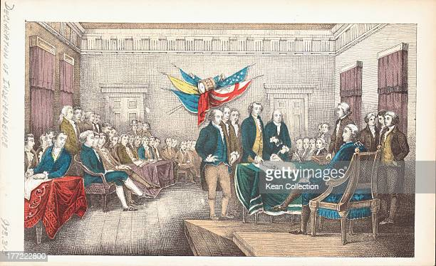 Color engraving depicting the signing of the US Declaration of Independence including John Hancock President of the Continental Congress and two...