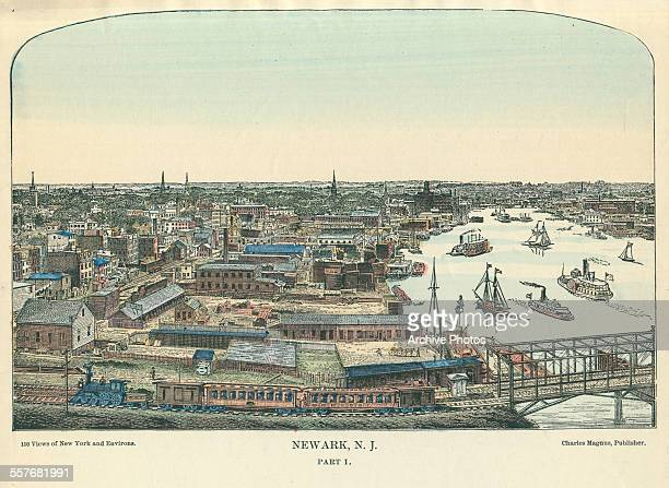 Color engraving of a birds eye view over the city of Newark New Jersey circa 1900