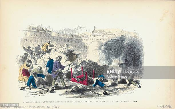 Color engraving of rioting at the barricades of the Last Insurrection during the French Revolution France 1848