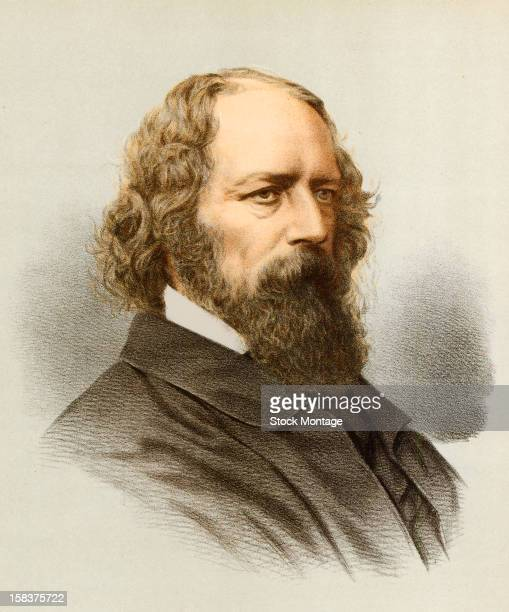Color engraving portrait of English poet Alfred, Lord Tennyson , mid to late 19th century.