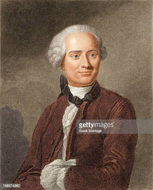 Color engraving portrait of French mathematician and scientist Jean Le Rond d'Alembert mid to late 18th century