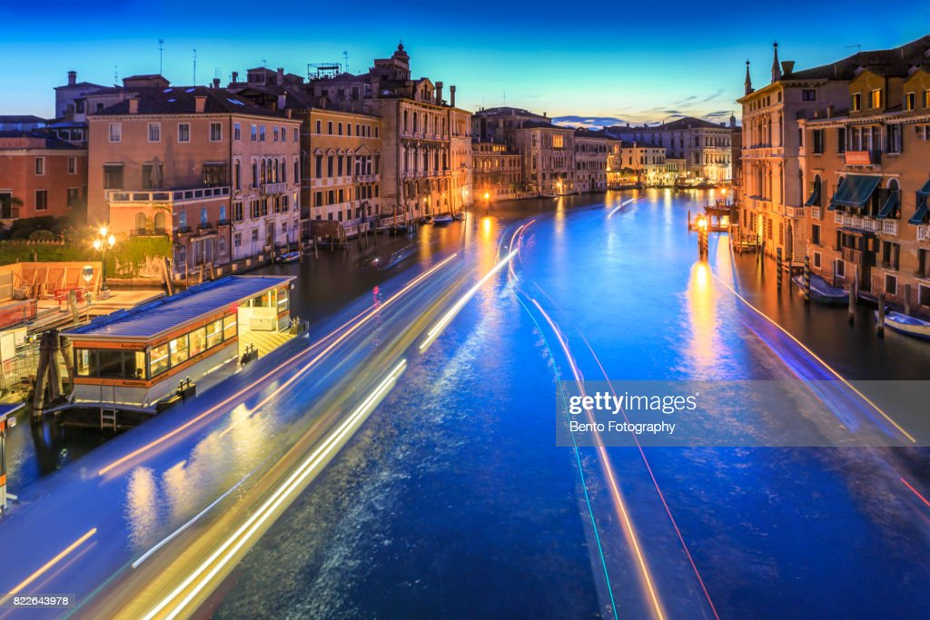 Color full of boat light in grand canal, Venice during sunset, Italy : Stock Photo
