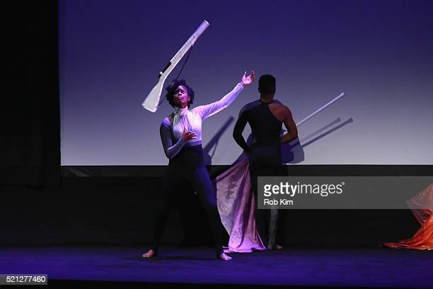 Color guard dancer Dormeshia Ward performs onstage at the Contemporary Color Premiere during the 2016 Tribeca Film Festival at BMCC John Zuccotti...