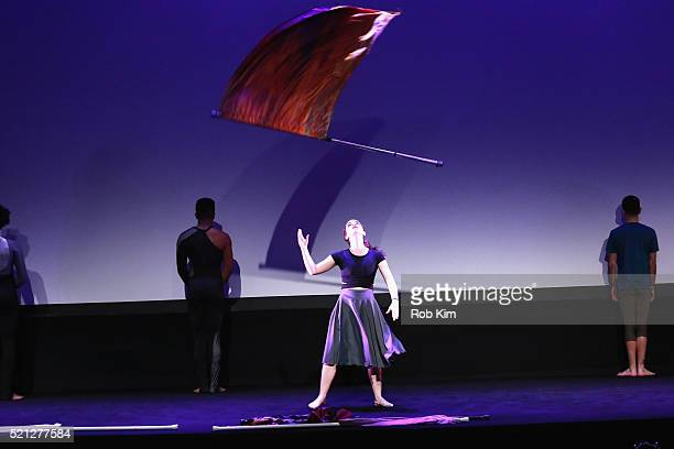 Color guard dancer Kristin Thayer performs onstage at the Contemporary Color Premiere during the 2016 Tribeca Film Festival at BMCC John Zuccotti...