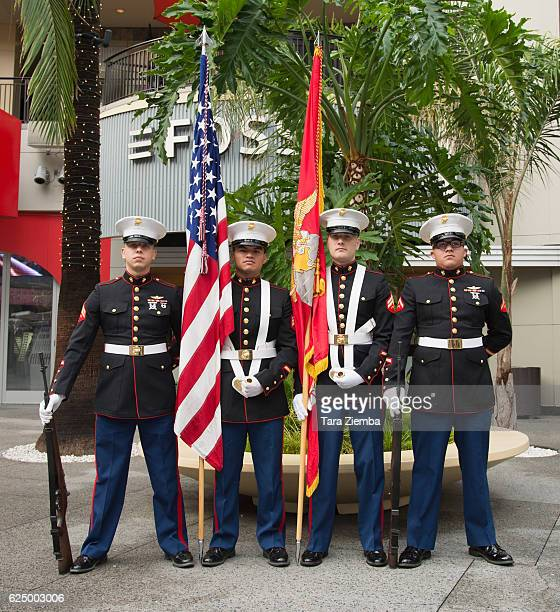 Color Guard's Corporal Sean Ibarra Sergeant Miguel Aguilar Corporal Adam Vasquez and Lance Corporal Alejandro Banda attend a press conference for the...