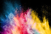 Color Holi Festival. Colorful explosion for Happy Holi powder. Color powder explosion background.