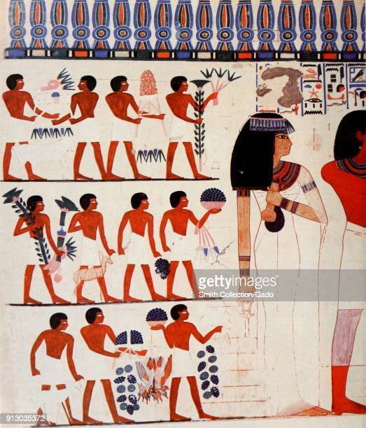 Color illustration depicting a painted wall from the interior of the Theban tomb of the Pharoah Nakht showing half of Nakht and his wife Tawy at...