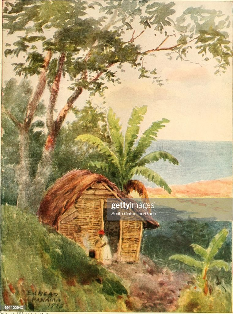 Color Illustration Depicting A Small, Panamanian House Or Wooden Hut, With  A Palm Leaf