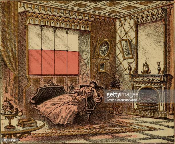Color illustration depicting a woman in Victorian dress reclining on a couch in a luxuriously decorated room in which four window panes have a red...