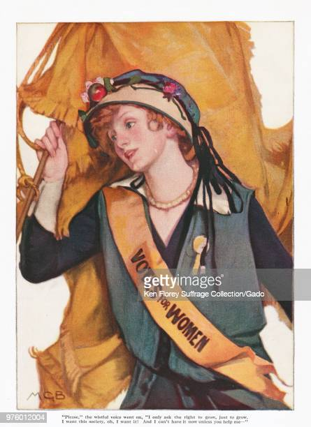 Color illustration depicting a beautiful young redhaired suffragist wearing a blue dress and hat a golden pennant and a goldenyellow sash with the...