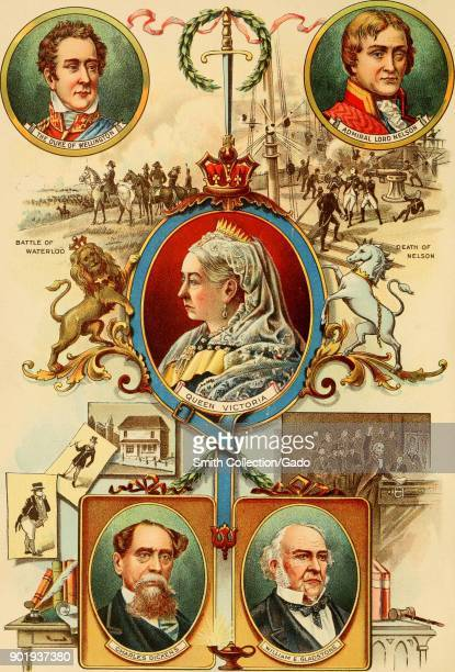 Color illustration depicting five cameostyle insets with face shots of famous British figures from the Victorian era including Queen Victoria the...