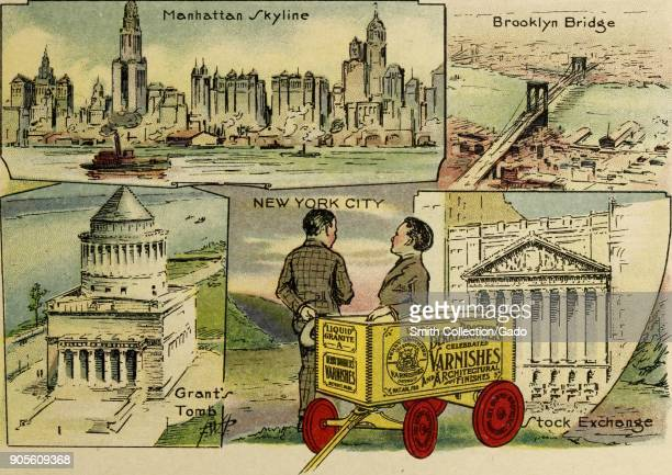 Color illustration depicting four scenes of popular sites in New York City USA including the Manhattan Skyline the Brooklyn Bride Grant's Tomb and...