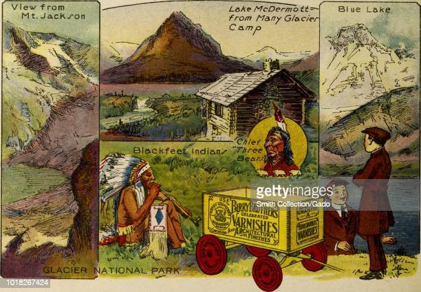 Color illustration depicting several views of Glacier National Park including the View from Mount Jackson Lake McDermott from Many Glacier Camp Blue...