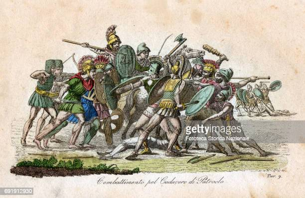 Color illustration depicts 'Combat for Dead Body of Patroclus' an episode of the Trojan War Italy circa 1831 It appears in Giulio Ferrario's 'Il...