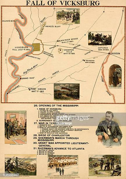 Color illustration entitled 'Fall of Vicksburg' shows battle lines locations and dates during the titular event in the US Civil War along with a...