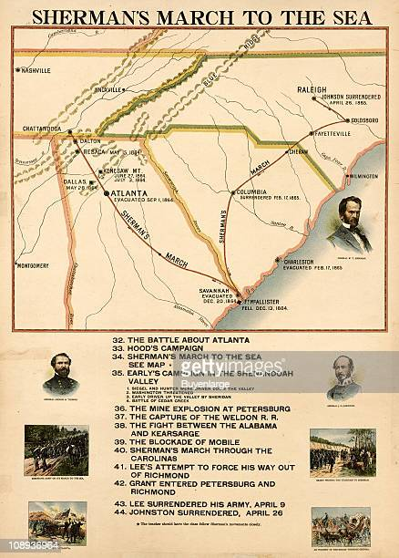 Color illustration entitled 'Sherman's March to the Sea' shows the route along with a brief timeline of Major General William Sherman's Savannah...