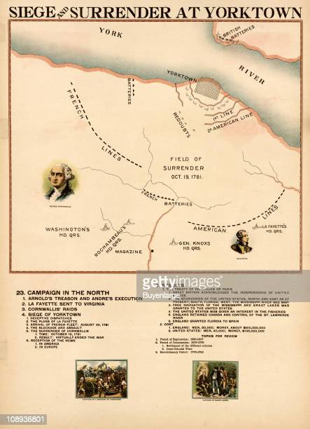 Color illustration entitled 'Siege Surrender at Yorktown' shows battles lines durign the titular event in the American Revolutionary War along with a...