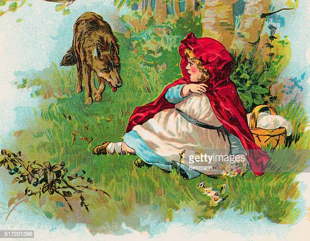 Color illustration from the fairy tale Little Red Riding Hood depicting the character Little Red Riding Hood sitting on the grass and cowering as a...