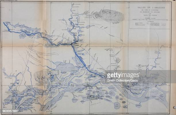 Color illustration of a map of the Amazon River basin with an inset key and conversion units captioned 'Vallee de l'Amazone de Faro a Alemquer Rio...