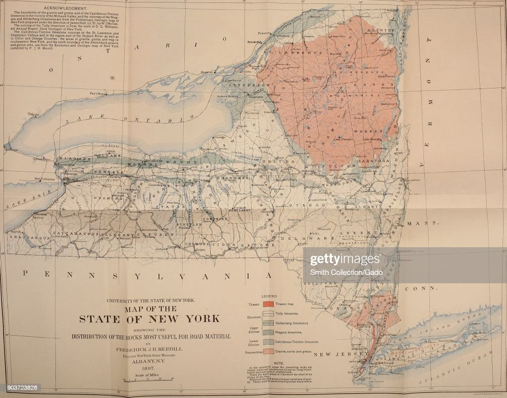 Color illustration of a map of the state of New York, United ...