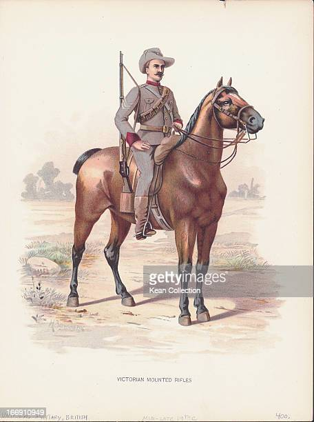 Color Illustration of a soldier of the Victorian Mounted Rifles an Australian regiment of the British military circa 18791915