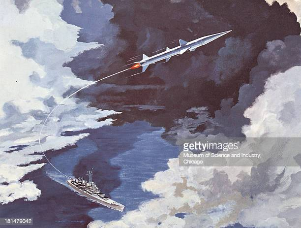 Color illustration of a Tartar SurfaceToAir missile flying up in the sky with a stream of smoke following behind it from the battleship in the ocean...
