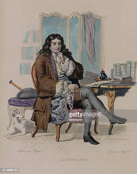Color illustration of French poet Jean de la Fontaine seated b 1621 d 1695