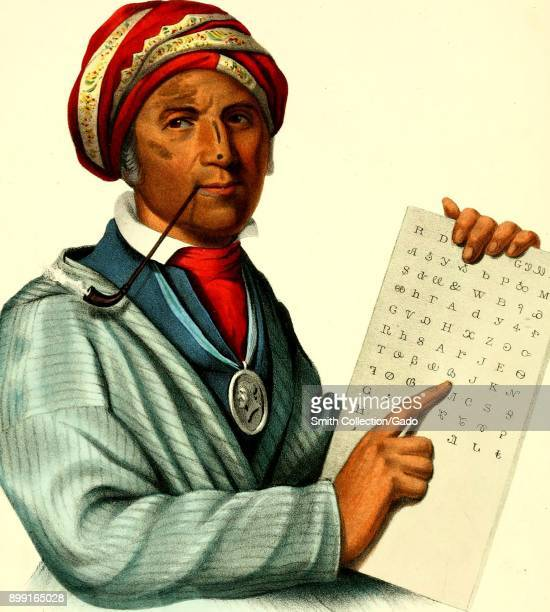 Color illustration of Sequoyah or Sequoyah inventor of the Cherokee syllabary depicted wearing European dress a turban and a silver medal while...