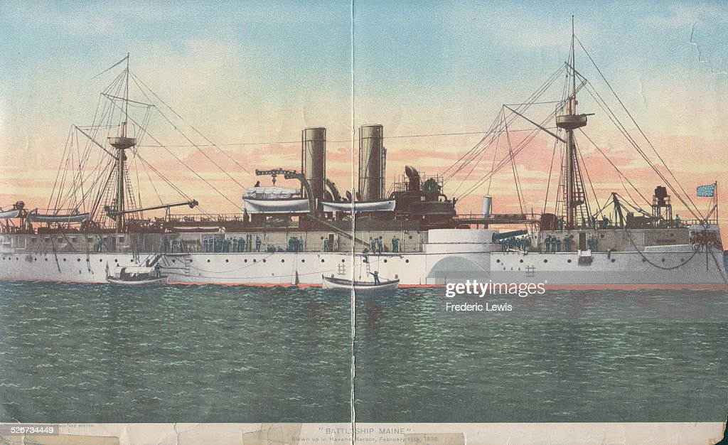 Color illustration of the battleship USS Maine, prior to it sinking in an explosion on February 15th 1989.