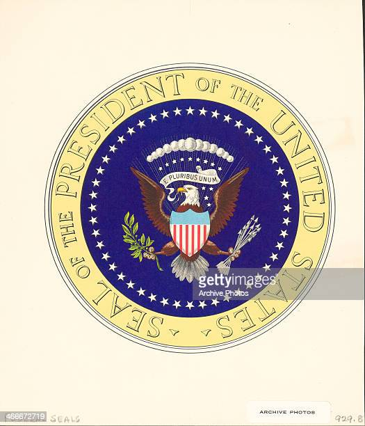Color illustration of the federal seal of the President of the United States of America with the motto 'Out of one many' replaced in 1956
