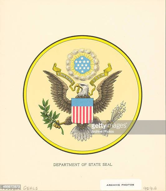 Color illustration of the federal seal of the United States Department of State depicting an American eagle with the motto 'E pluribus unum'
