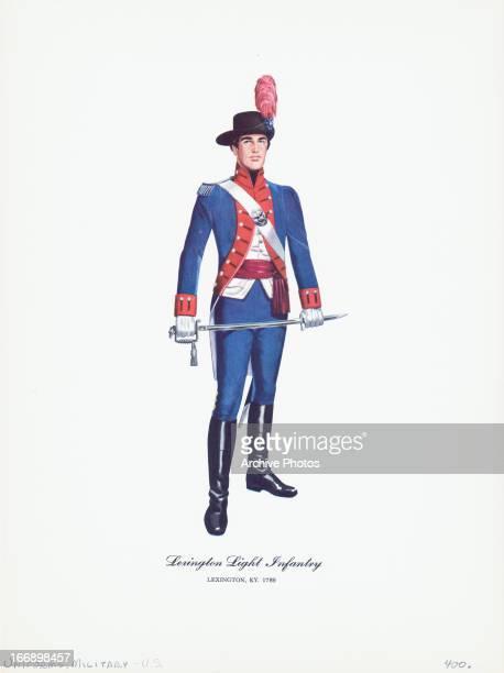 Color illustration of US military uniform, Lexington Light Infantry, Lexington, KY, 1789.