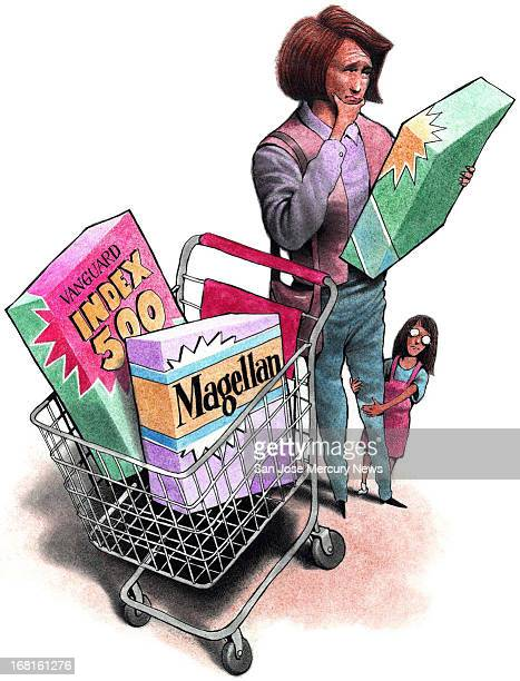 color illustration of woman with shopping cart full of cereal boxes named after popular mutual funds
