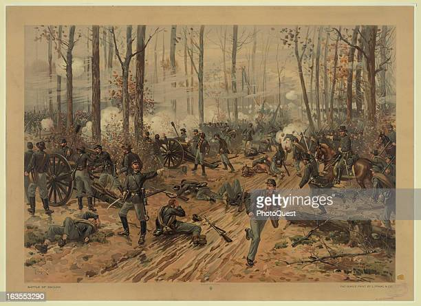 Color illustration showing a scene from the Battle of Shiloh during the American Civil War April 6 1862 By Thure de Thulstrup 1888