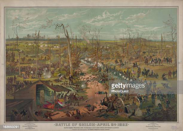 Color illustration showing an overall scene of the Battle of Shiloh during the American Civil War April 6 1862