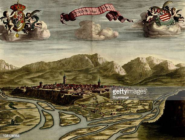 Color illustration showing the Italian city of Cuneo in the Piedmont region of Italy ca 1700s Illustration by Anne Beeck