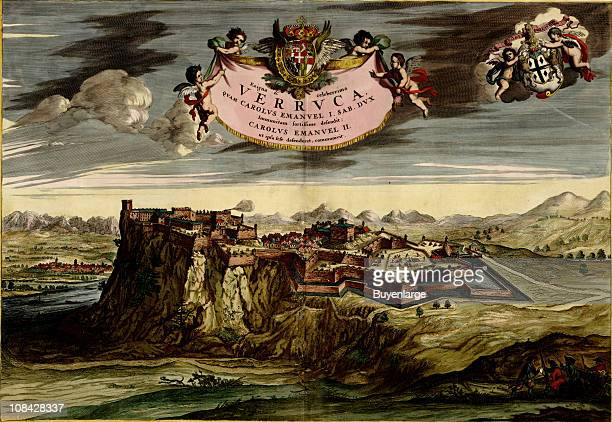Color illustration showing the Italian fortress La Verruca located on the summit of the Verrucano mountain three miles from Pisa Italy...